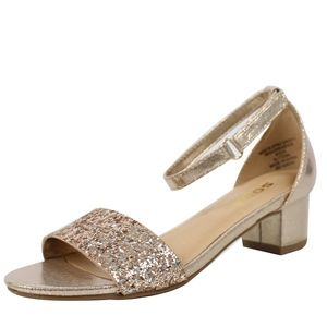 Other - GIRLS Gold Glitter Open Toe Ankle Strap Sandal